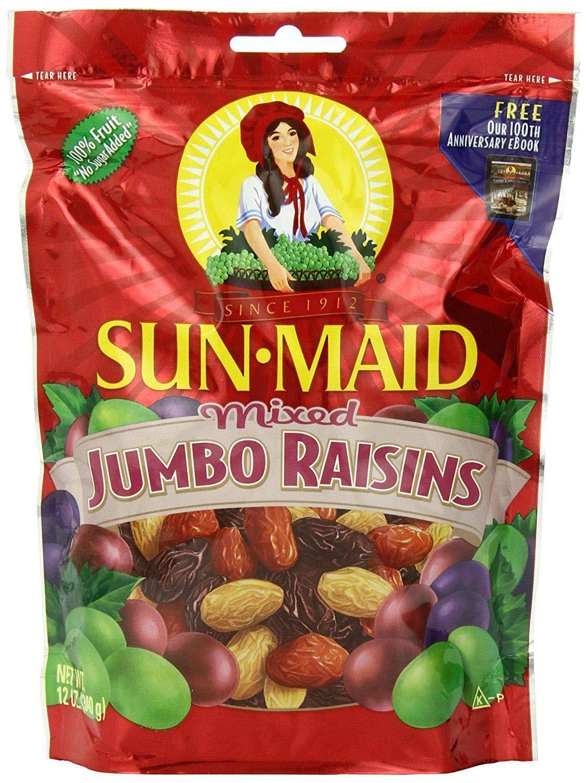 Sun Maid Mixed Jumbo Raisins, 12-Ounce Pouches (Pack of 5) by Sun Maid