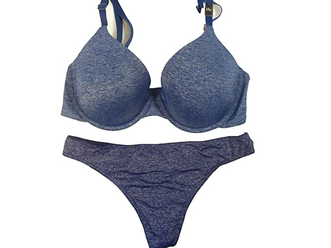 de26c173b5d Image Unavailable. Image not available for. Color  Sexy Uplift Semi Demi  Blue Jean Bra Set Thong Panty 34 ...