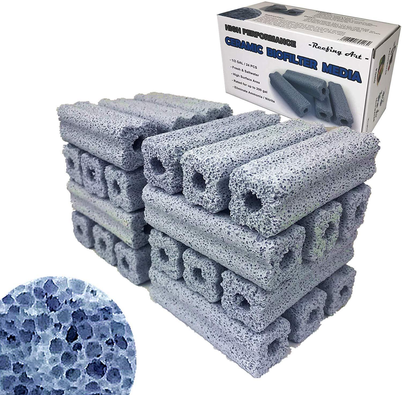 Reefing Art Ceramic Bio Filter Media Vast Surface Area for Aquarium Sump Canister (1 Box / 24 pcs)