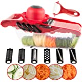 HOMAR Mandoline Slicer Vegetable Cutter Grater Chopper Juilienne Slicer with 6 Interchangable Blades, Shredder, Peeler, Hand Protector, Food Storage Container-Cutter for Potato,Tomato,Onion,Cheese