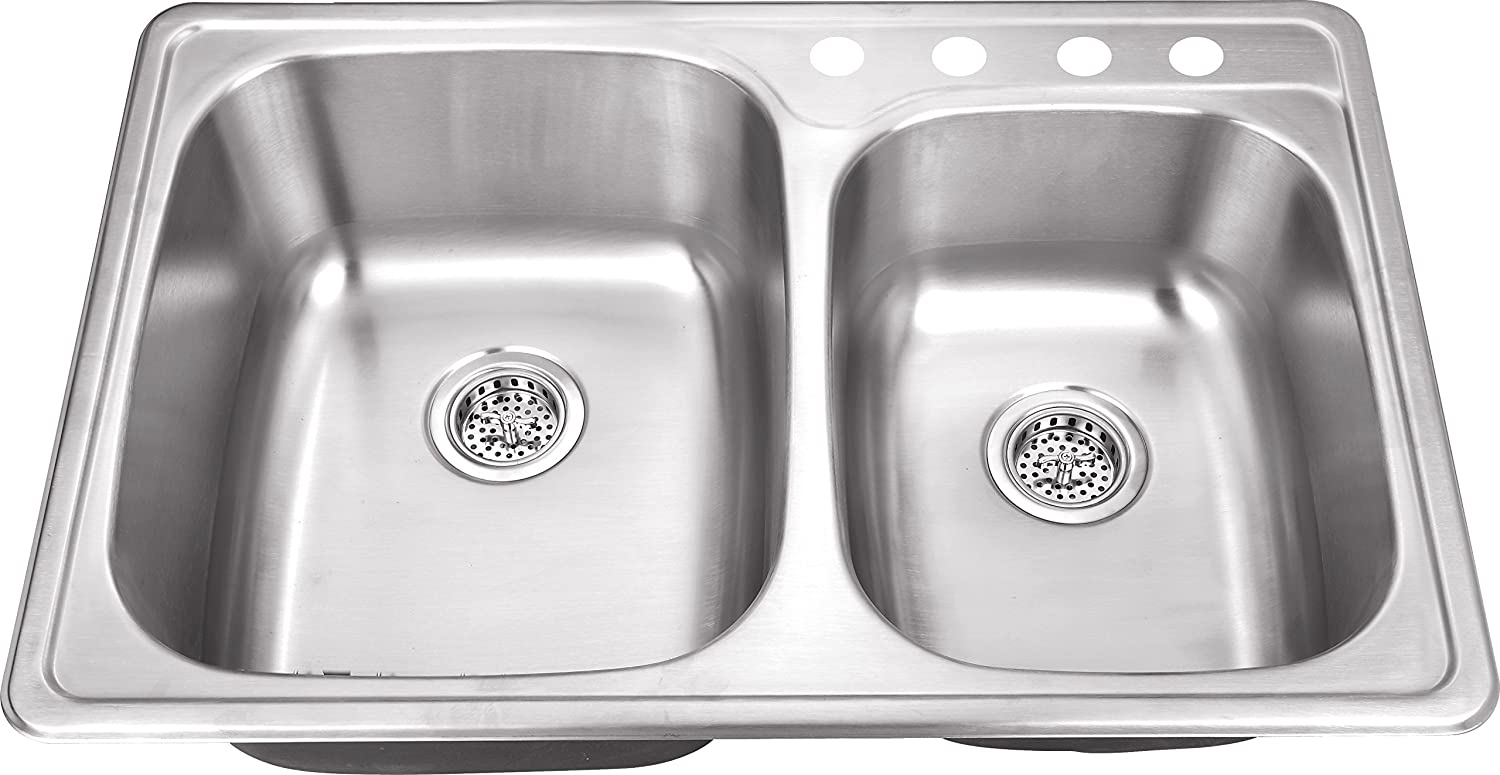 TM6040 33 x22 x8 Top Mount Drop In 60 40 Stainless Steel Double Bowl Kitchen Sink