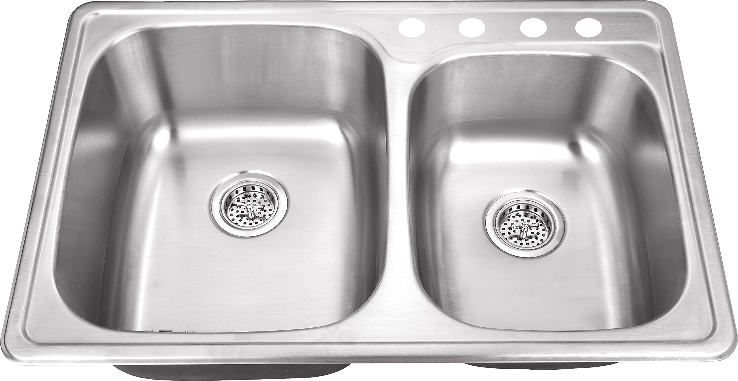 TM6040 33''x22''x8'' Top Mount/Drop In 60/40 Stainless Steel Double Bowl Kitchen Sink by Magnus Sinks