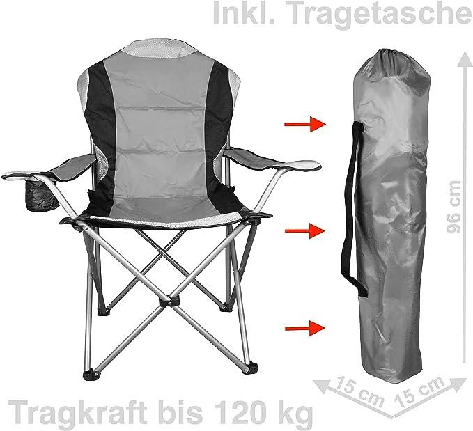 WildStage XL Campingstuhl faltbar inkl Tragetasche und Gratis Microfaserhandtuch