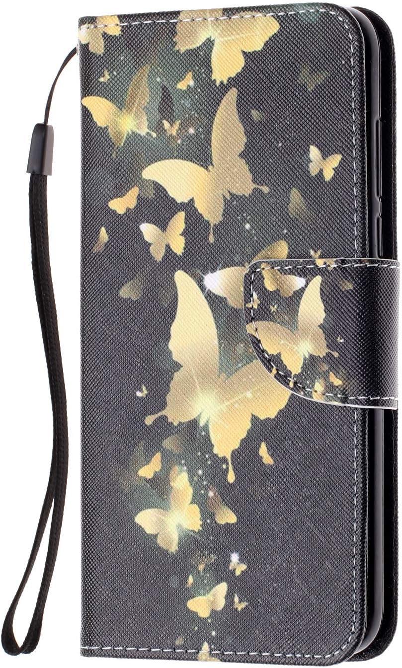 Klassikaline Coque Honor 7C, Etui Housse pour Honor 7C PU Cuir Flip-Case Portefeuille Case Etui Flip Cover Wallet Cover - Papillon Arbre Papillon doré
