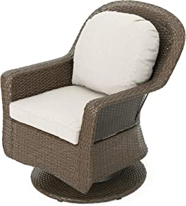 Christopher Knight Home Liam Outdoor Wicker Swivel Club Chairs with Water Resistant Cushions, 2-Pcs Set, Brown / Ceramic Grey