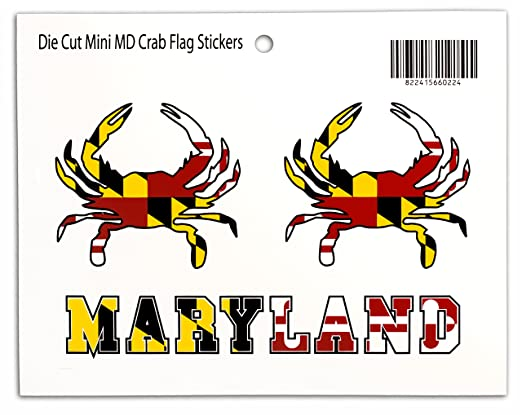Amazon com maryland flag crab stickers 3 piece set