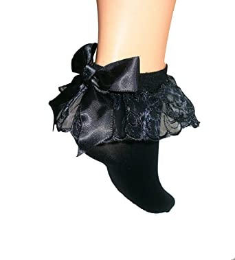 7a248727e Black Opaque Frilly Lace Ruffle Ankle Socks Satin Black Bow Amber Rose   Amazon.co.uk  Clothing