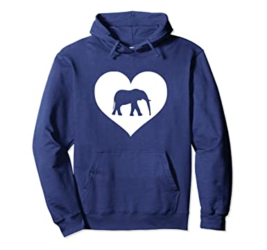 b77c70890 Unisex Elephant lover Hoodie love heart gift idea for teens   women 2XL Navy