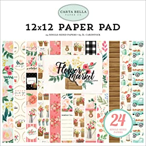 Carta Bella Paper Company Flower Market 12X12 Pad paper, teal, pink, tan, green, cream