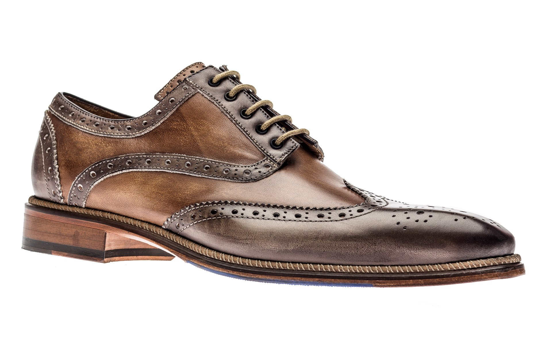 Jose Real Shoes Veloce Collection | Cafe | Mens Oxford Brown Genuine Real Italian Leather Dress Shoe | Size EU 45