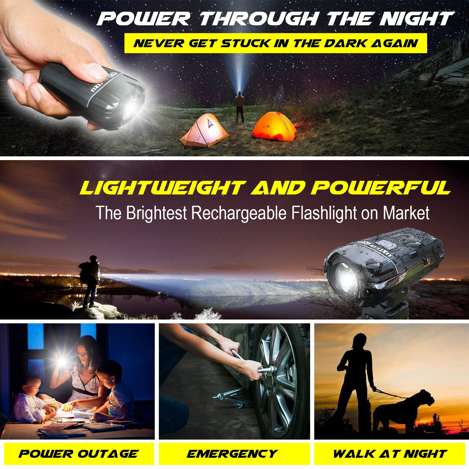 BLITZU Gator 380 USB Rechargeable Bike Light Set POWERFUL Lumens Bicycle Headlight FREE TAIL LIGHT, LED Front and Back Rear Lights Easy To Install for Kids Men Women Road Cycling Safety Flashlight by BLITZU (Image #6)