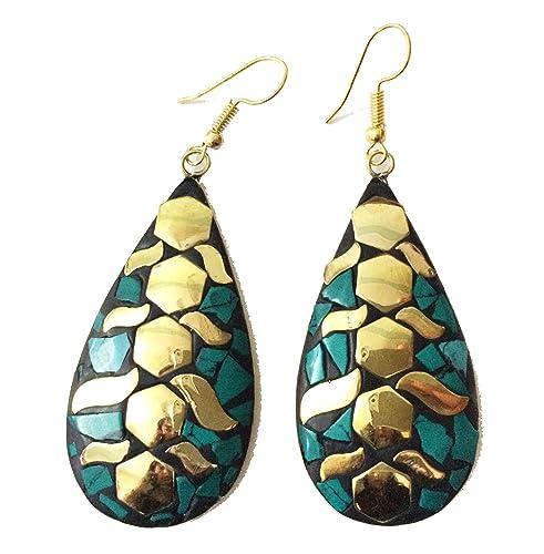 cfb983e21d2f9 Amazon.com  Nepal Turquoise Earrings
