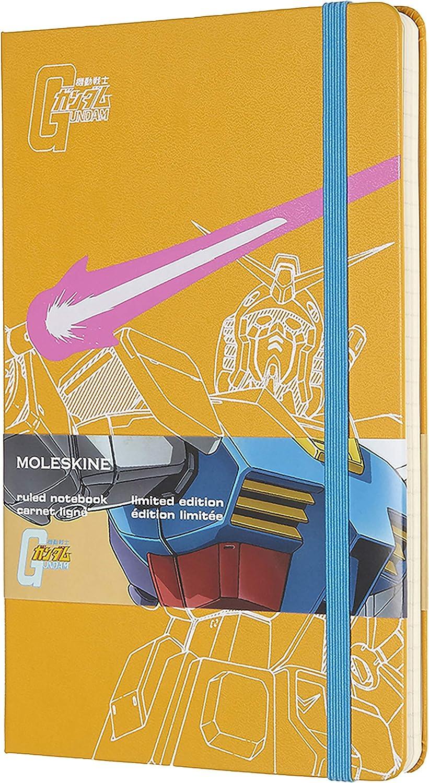 Moleskine - Cuaderno Gundam Edición Limitada, Tapa Dura, Goma Elástica y Páginas con Rayas, Color Naranja, Tamaño Grande 13 x 21 cm, 240 Páginas (EDITION LIMITEE)