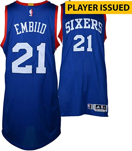 7565f5bf302 Joel Embiid Philadelphia 76ers Player-Issued  21 Blue Jersey from the  2014-15