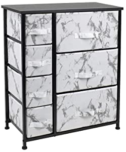 Sorbus Nightstand with 7 Drawers - Bedside Furniture & Accent End Table Chest for Home, Bedroom Accessories, Office, College Dorm, Steel Frame, Wood Top (7-Drawer, Marble White – Black Frame)