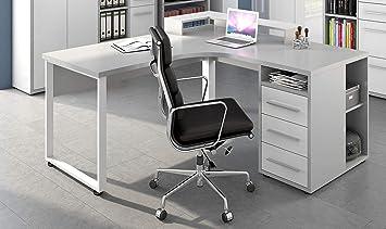 16786346 T217 Gw Table De Bureau D Angle En Verre Blanc