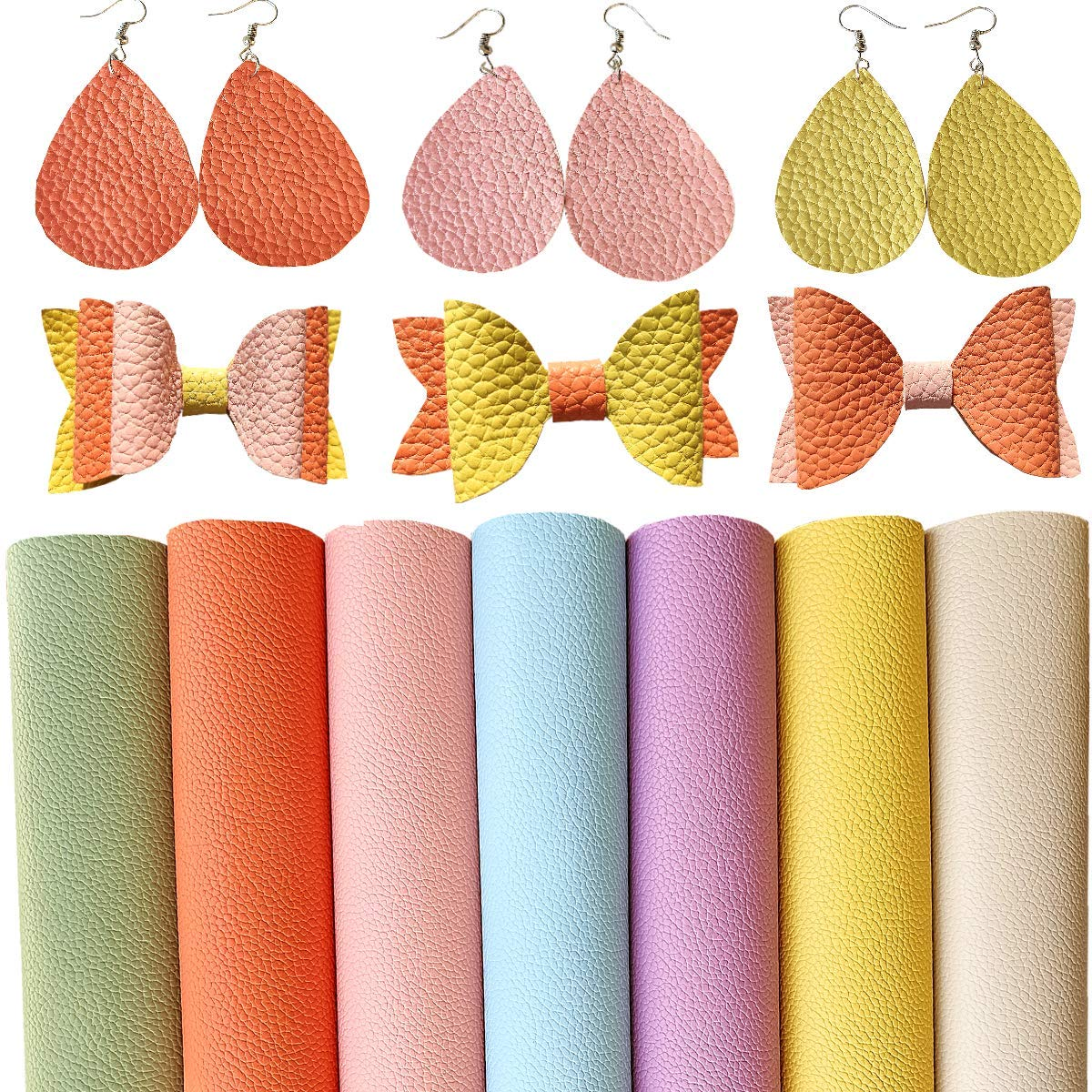 Synthetic Vinyl Fabric for Jewelry Purses Crafts,1.2mm Thickness Cotton Back SHUANGART 7 Pcs A4 Size Faux Leather Sheets for Earrings Bows Making Lovely Macaroon Colors 21 X 30cm