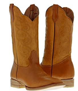 Men/'s Saddle Two Tone Sand Brown Overlay Leather Cowboy Boots Rubber Sole Square