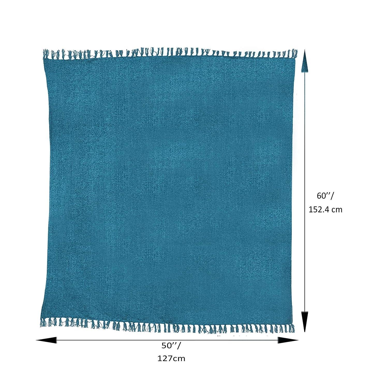 Decorazioni morbide e Calde 152 x 127 cm Coperta da tiro in ciniglia divani per Soggiorno per Divano Blu Acqua RAJRANG BRINGING RAJASTHAN TO YOU Coperta Chenille Throw Blankets