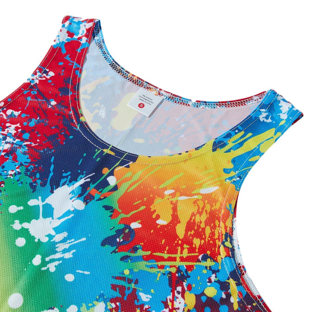 RAISEVERN 3D Bunte Farbe Drucken Lustige Muster Realistische Underwaist Gym Tank Tops für Herren X-Large