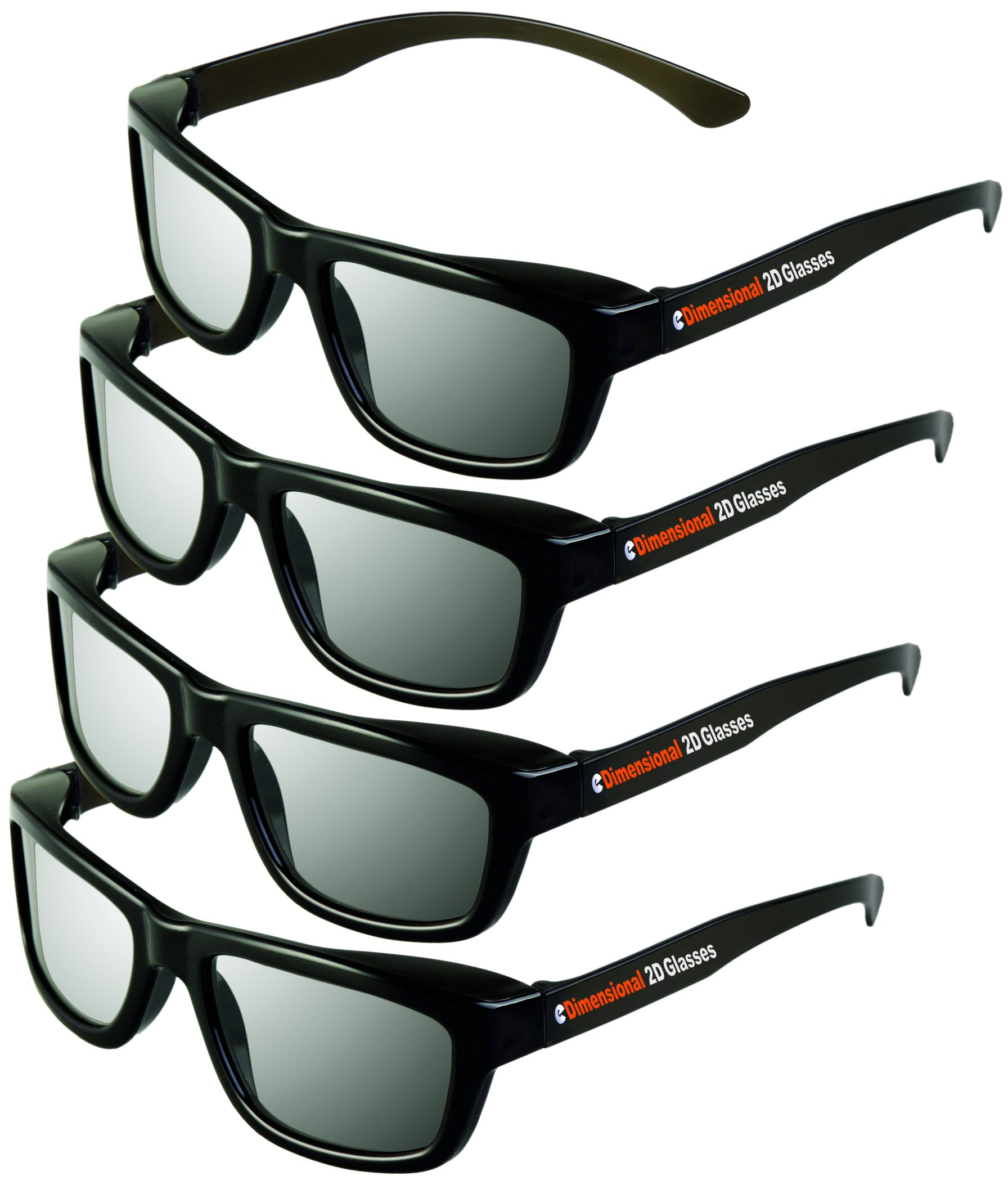 2D Glasses 4 Pack - Turns 3D movies back into 2D - eDimensional 4 Pairs for passive 3D Televisions and for use in RealD 3D Theaters by eDimensional