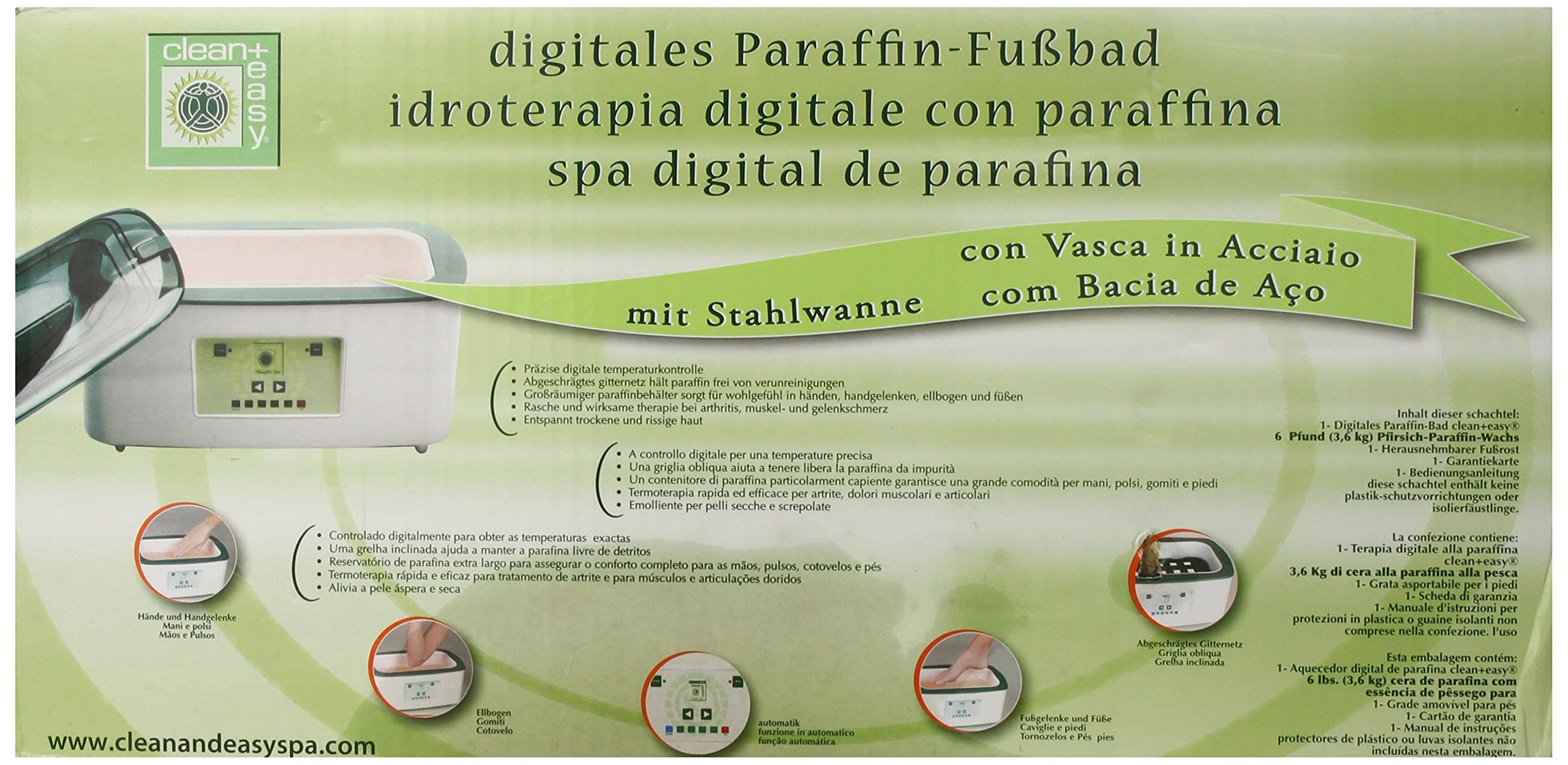 Clean + Easy Digitial Paraffin Spa with Steel Bowl and Peach Paraffin Wax, 256 Ounce