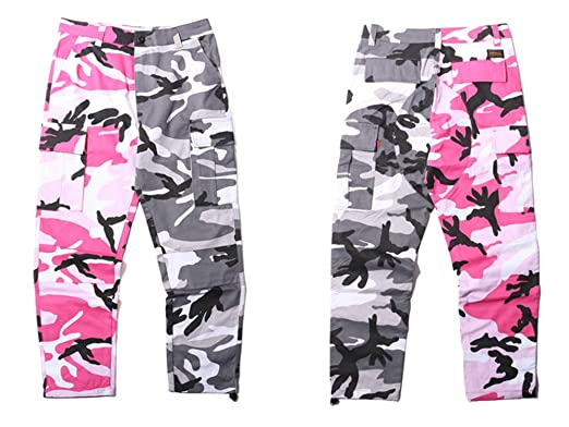 Frozac 2018 New Pants Mens Hip Hop Patchwork Cargo Casual Street Wear Pink L