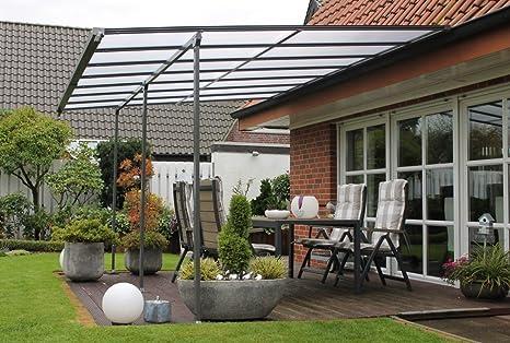 Cubierta para terraza Dreams4Home Bangui III, cubierta para terraza, pérgola, techo de terraza, cenador, toldo, techo para la terraza, aprox. 512 x 285 x 350 cm, jardín, con planchas alveolares grises/marrones: Amazon.es: