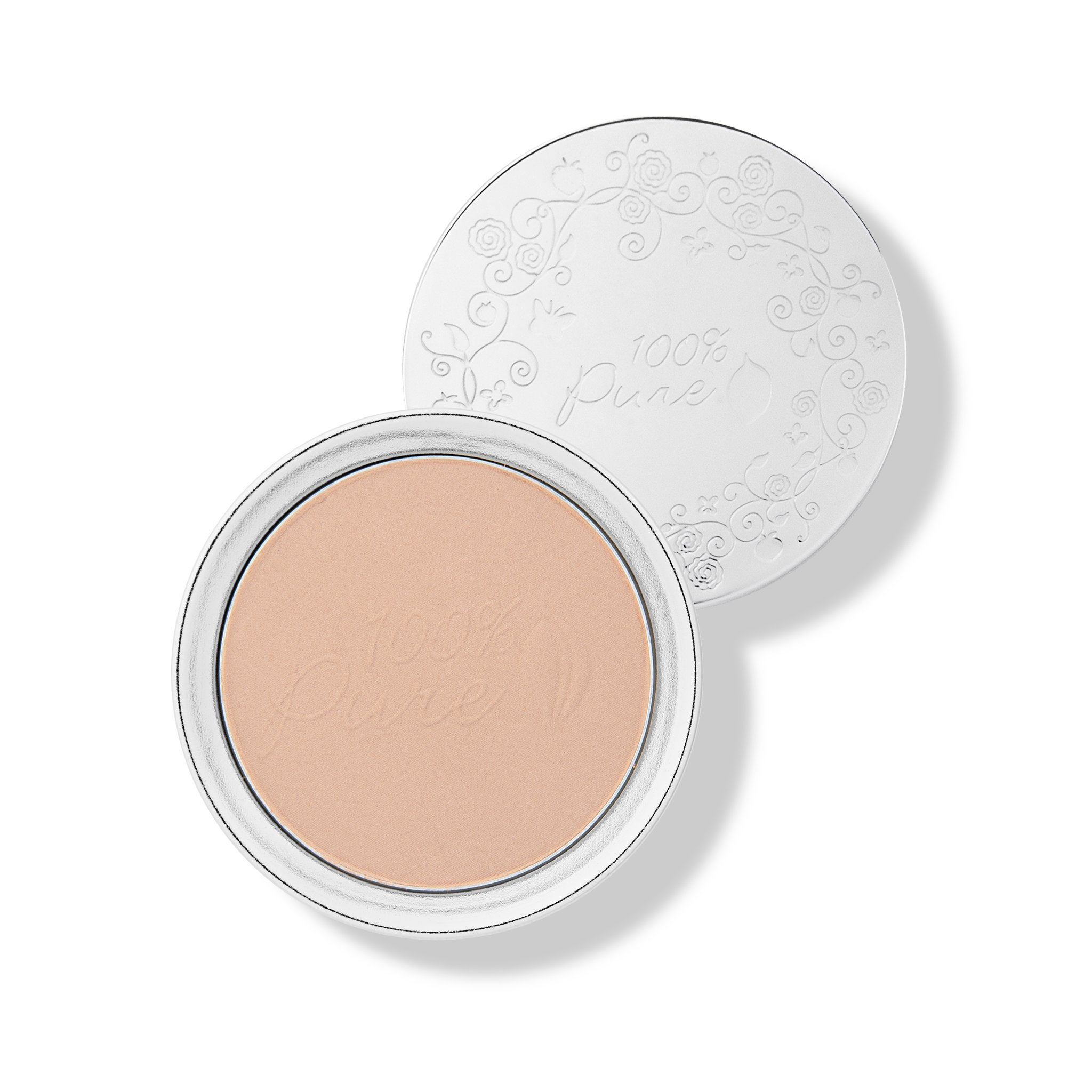100% PURE Powder Foundation (Fruit Pigmented), Peach Bisque, Matte Finish, Absorbs Oil, Anti-Aging, Helps Fight Acne, Natural, Vegan Makeup (Medium Shade w/Yellow Undertones) - 0.32 Oz