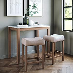Nathan James 41203 Viktor Dining Set Kitchen Pub Table Marble Top Fabric Seat Wood Base, Beige/Brown