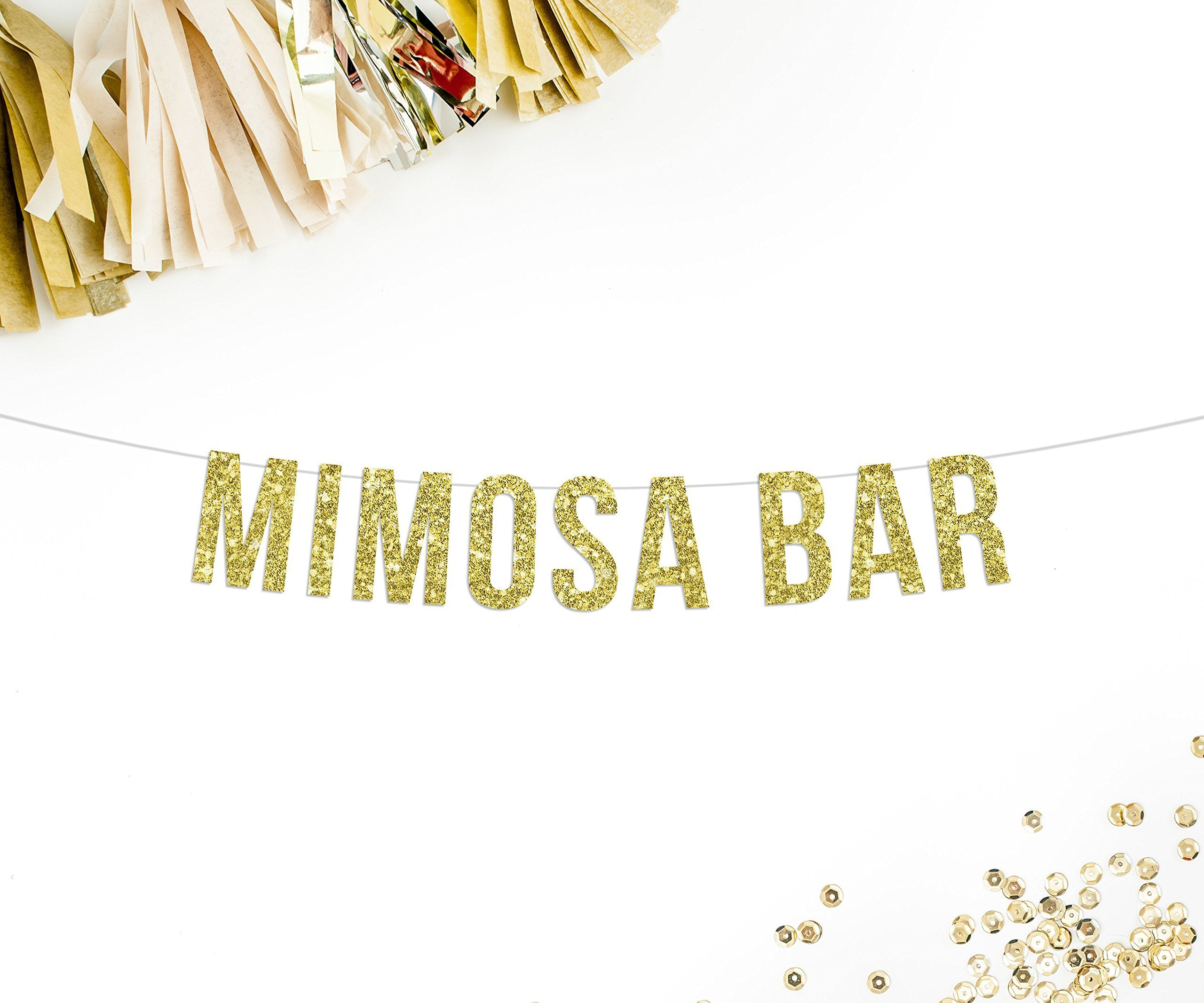 Mimosa Bar Gold Glitter Party Banner || champagne brunch