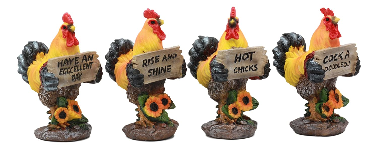 Ebros Set of 4 Roosters Country Farmland Chickens Holding Funny Signs Figurine Set 4Tall Decorative Rooster Tabletop Shelf Collectibles Rustic Nature Lovers Farm Animals