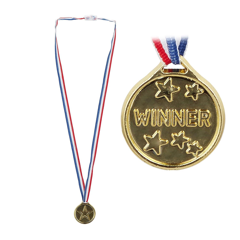 Relaxdays Lot de 24 médaille pour Enfant avec Cordon de Serrage Doré Ø 3,8 cm