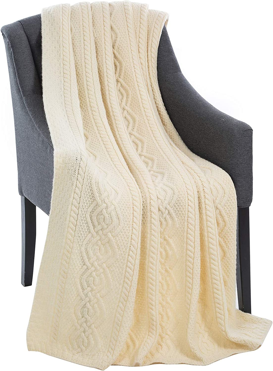 Luxurios Dara 100% Merino Wool Cable Knit Aran Bed & Couch Sofa Throw / Blanket (Natural) by 69 x 44 inches