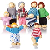 Wooden Doll House People of 8 Figures, Dolls Family Set for Girls Toddler Kids Dollhouse Accessories Toy