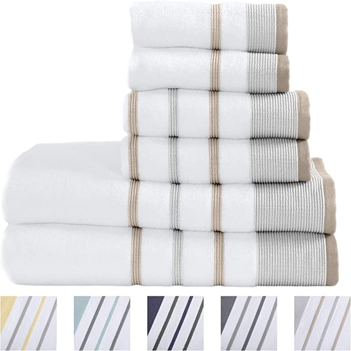 100% Turkish Cotton Striped Bath Towels, Luxury 6 Piece Set - 2 Bath Towels, 2 Hand Towels and 2 Washcloths. Highly Absorbent Quick-Dry Towels (6 Piece Set, Glacier Grey/Capuccino)