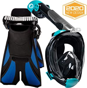 cozia design Snorkel Set with Full Face Snorkel Mask and Travel Adjustable Swim Fins