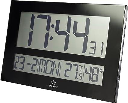 Renkforce Funk reloj de pared C8461 430 mm x 288 mm x 32 mm negro