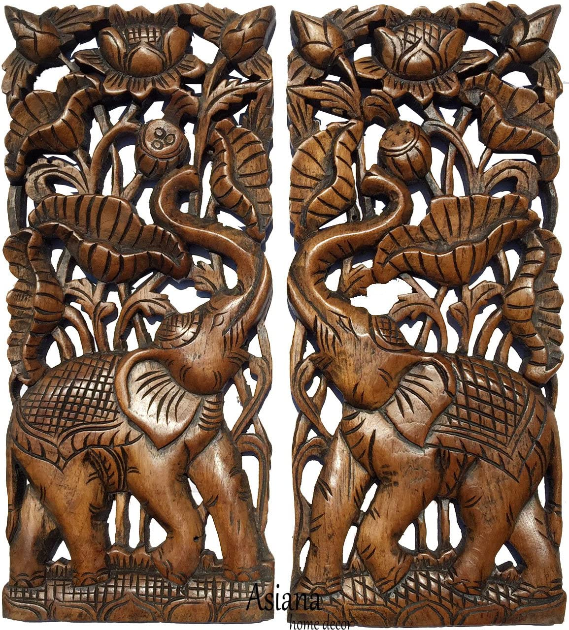 """Asiana Home Decor Carved Wood Wall Panel- Elephant with Lotus Flower Design, Size 17.5""""x7.5""""x1 Each, Set of 2 Pcs. (Brown)"""