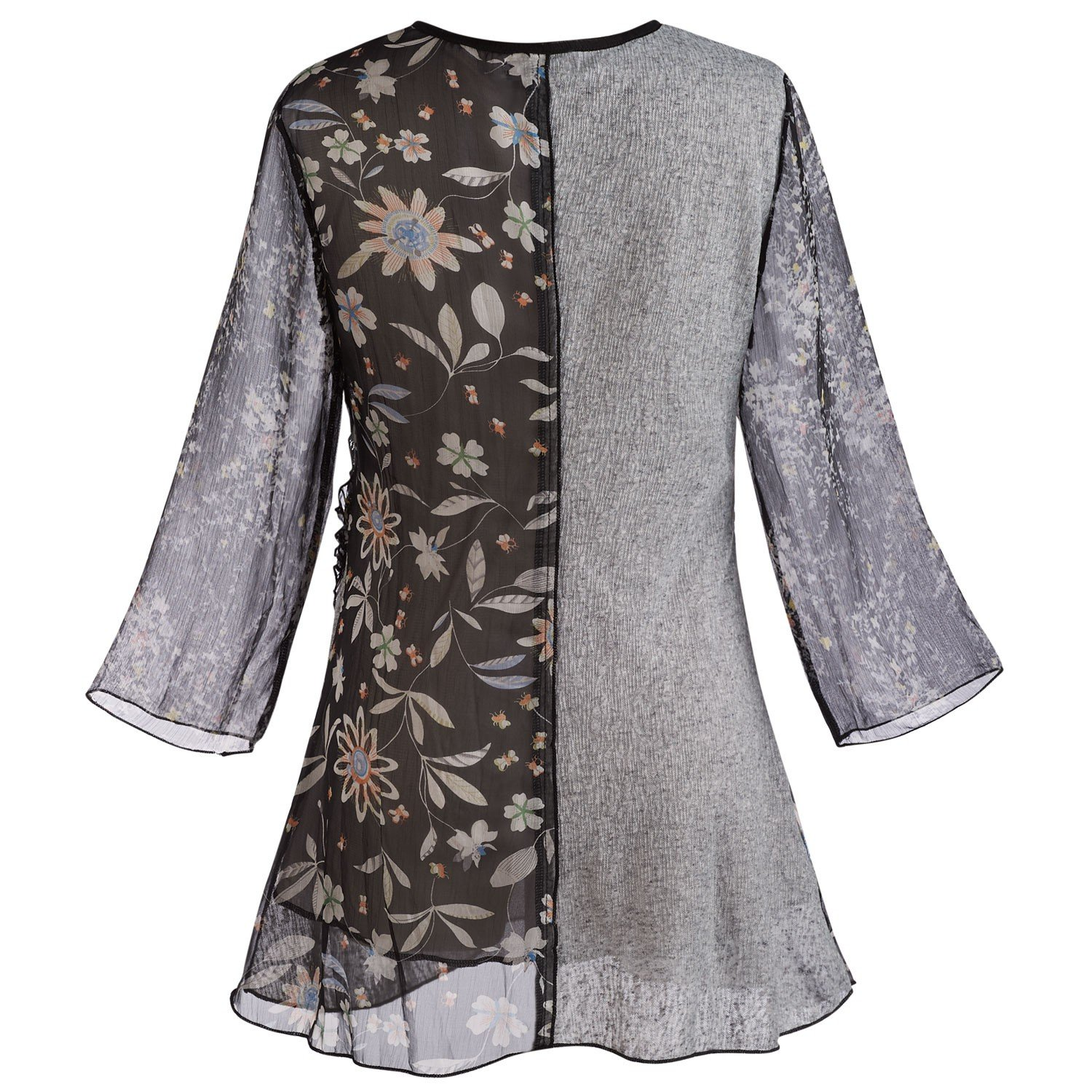 9460db75b89 Adore Women's Patchwork Tunic Top -Mixed Lace & Floral Patterns 3/4 Bell  Sleeves at Amazon Women's Clothing store: