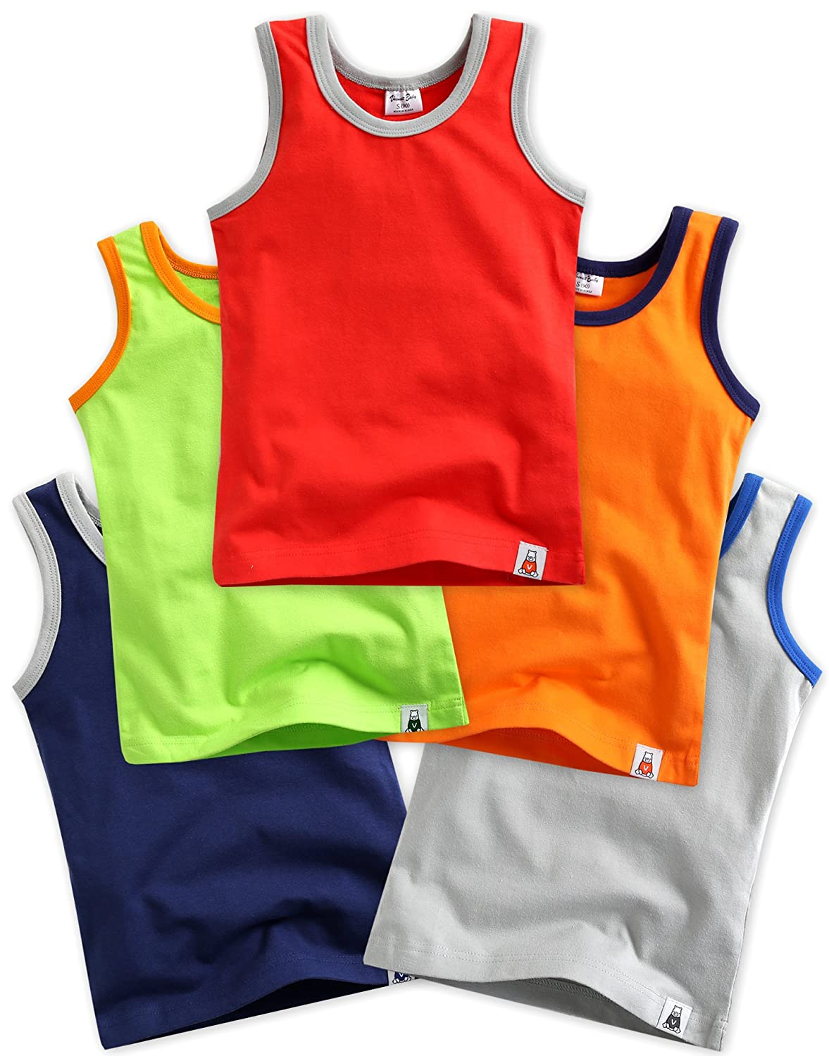 5 Pack Undershirts Days Red / Green / Orange / Navy / Grey M BB_088-2