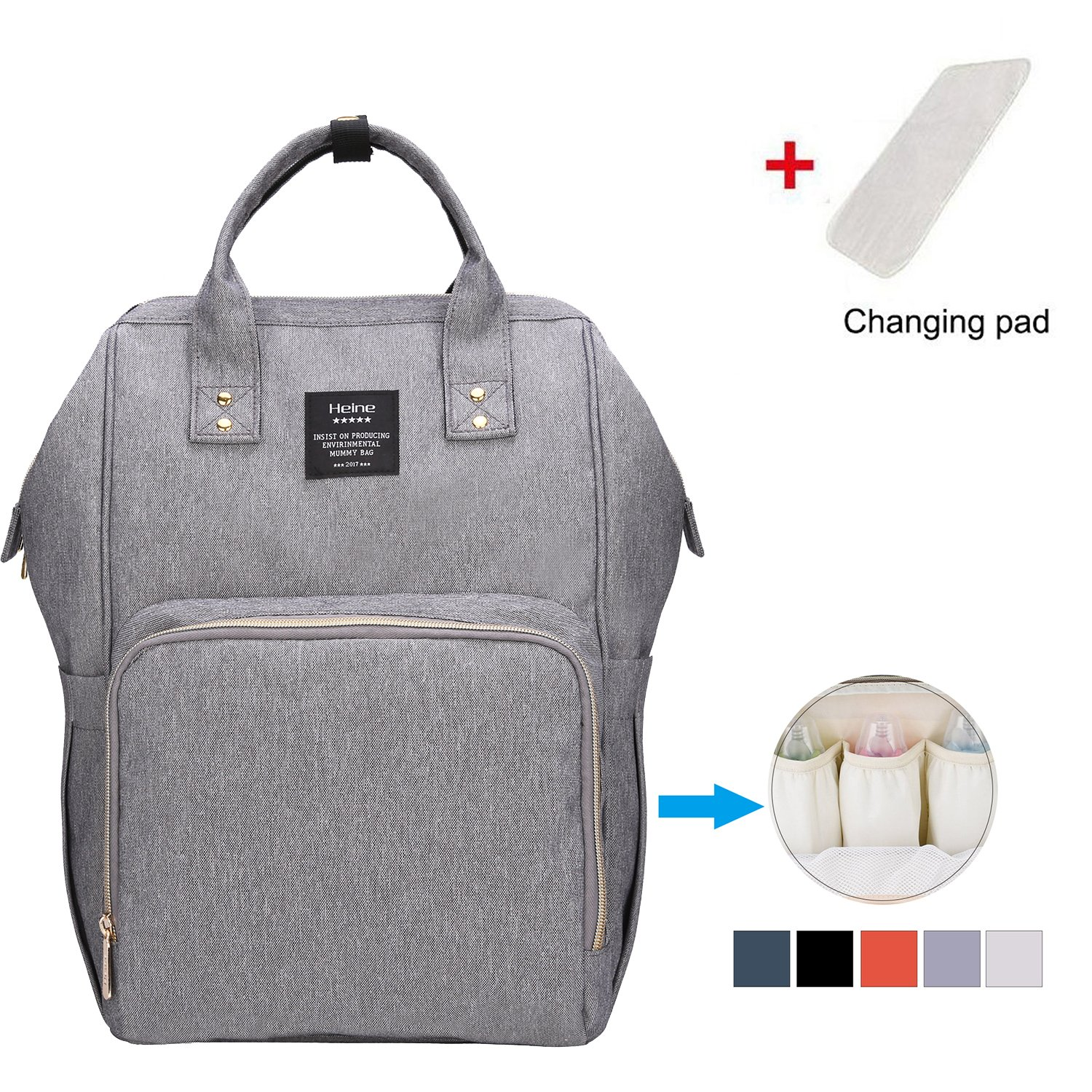 Everone Diaper Backpack Mummy Bag Casual Large Capacity Multi-function Baby Nappy Changing Bag with Baby Bottle Pockets (Gray)