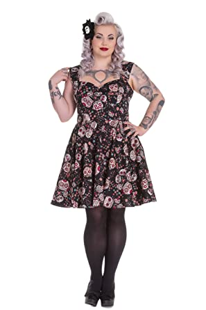 904713f93 Hell Bunny Plus Size Goth Rockabilly Black Sugar Skull Love Idaho Dress (2X)
