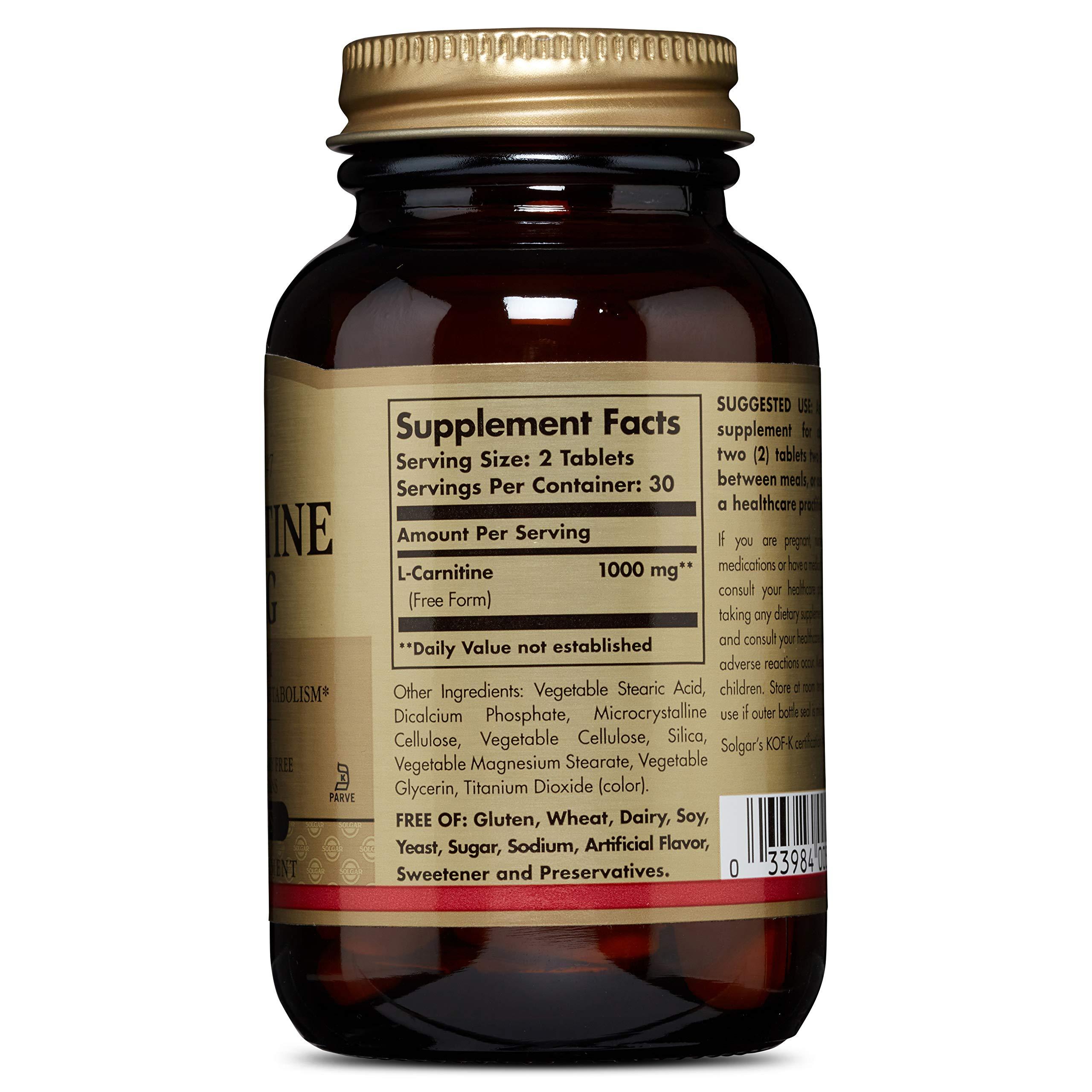 Solgar, L-Carnitine 500 mg 60 Tablets by Solgar (Image #2)