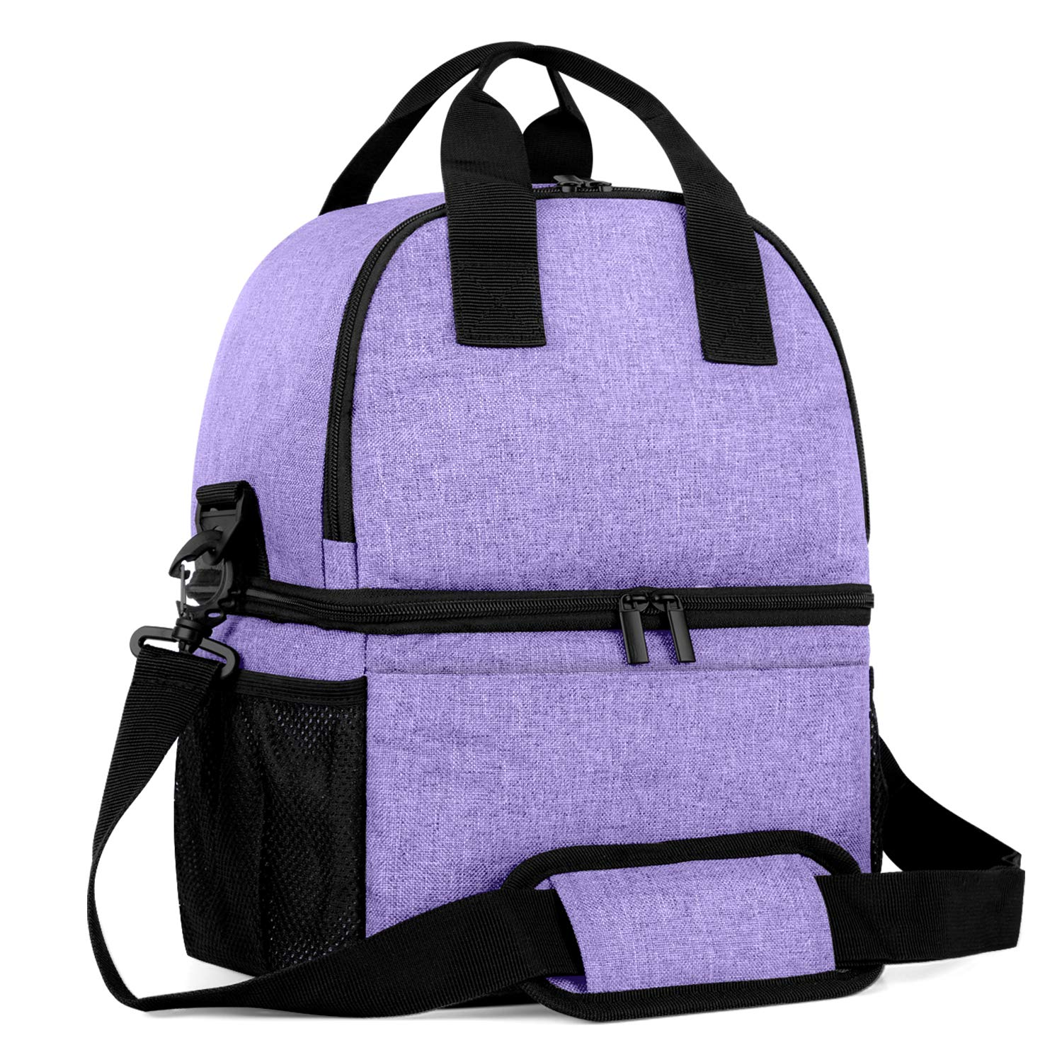 Teamoy Breast Pump Bag Tote with Cooler Compartment for Breast Pump, Cooler Bag, Breast Milk Bottles and More, Double Layer Pumping Bag for Working Moms, Purple(Bag Only)