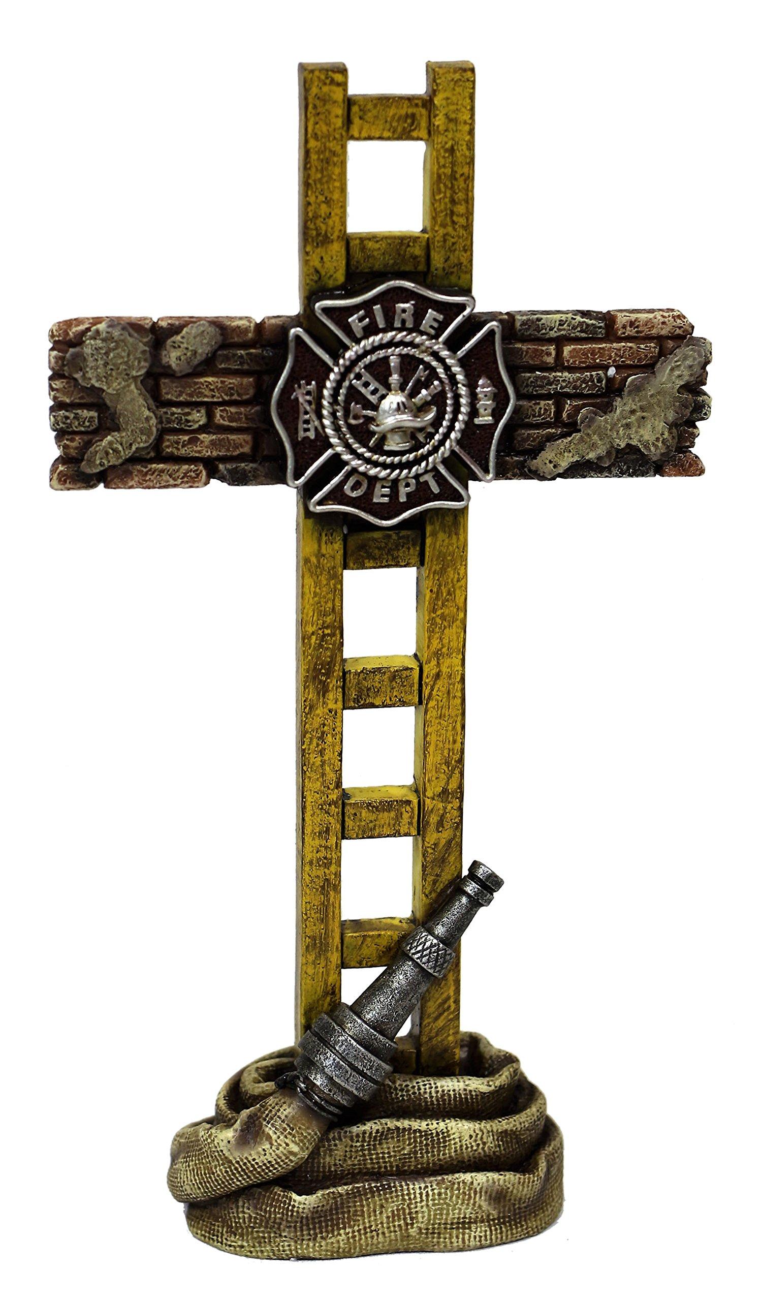 Marco Int'l US Fire Fighter Fireman Standing Cross Statue memorial 10'' H