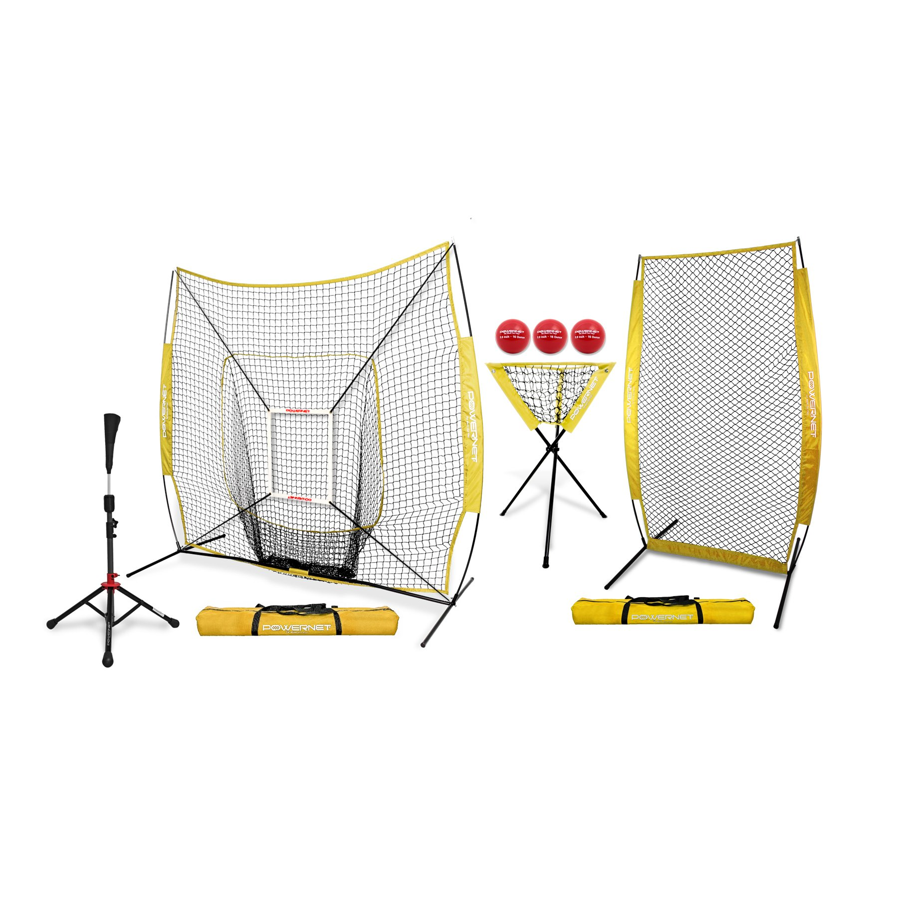 PowerNet [All in ONE Coach Bundle (Yellow) 7x7 DLX Practice Net + I-Screen + Deluxe Tee + Ball Caddy + 3 Pack Weighted Training Ball + Strike Zone Bundle | Baseball Softball Pitching Batting by PowerNet