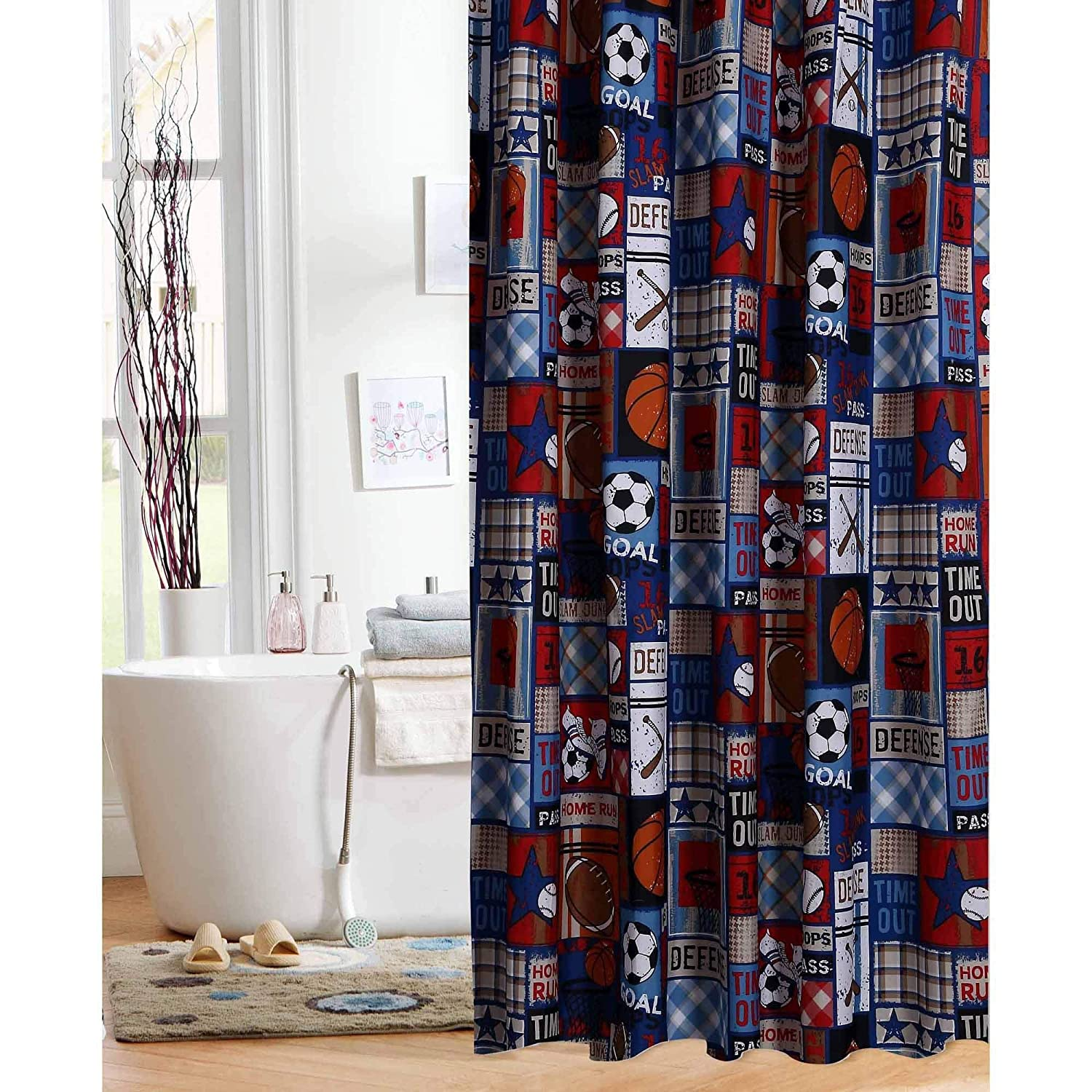 Mainstays Kids Sports Patch Shower Curtain MS45 004 464 08