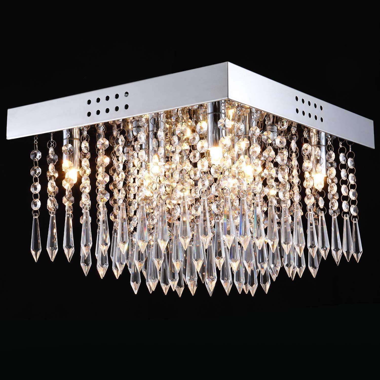 Modern Stylish K9 Crystal Chandelier Ceiling Light Fixture 2 color Led Lighting