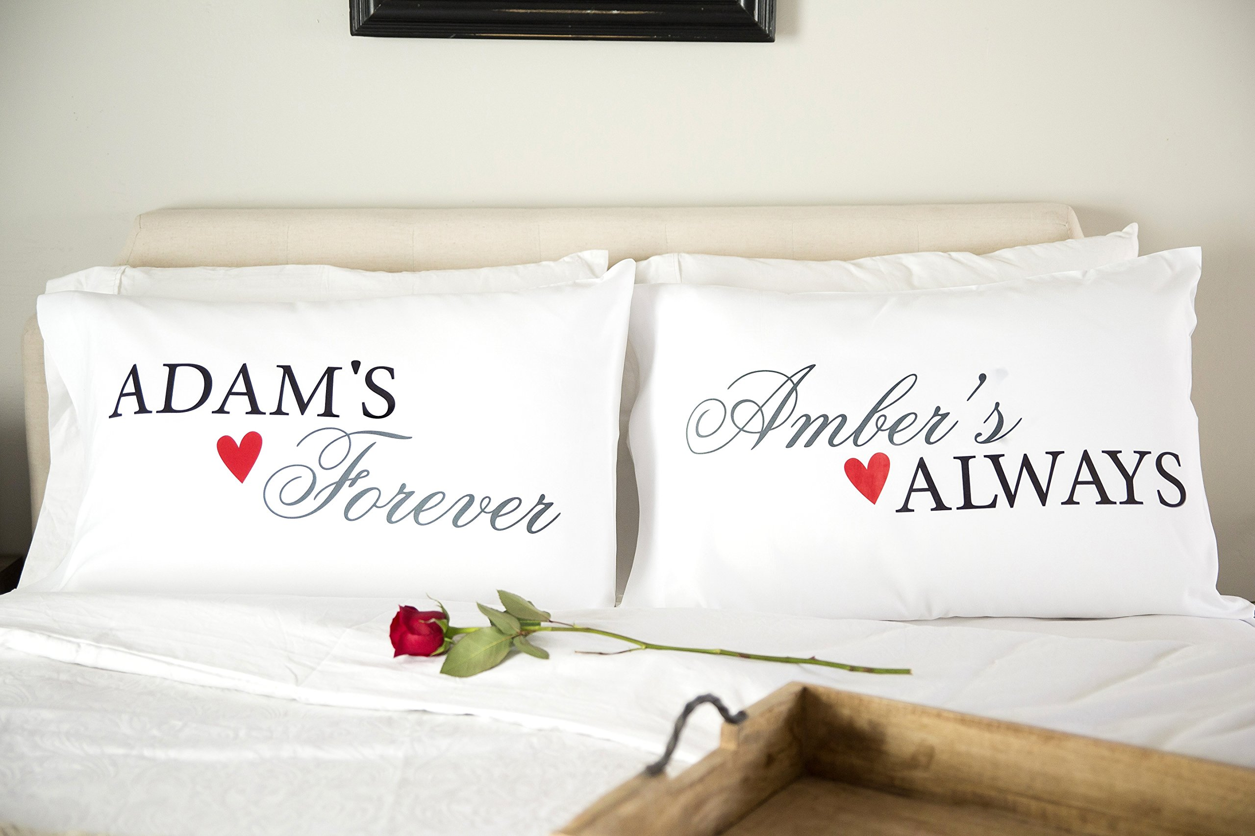Personalized Couples Pillowcases - Romantic and Unique Wedding, Also New Engagement Gifts for Couple (Adam & Amber Design)